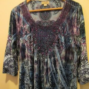 One World STRETCH VELVET TOP WITH SEQUINS, SIZE L